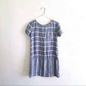 striped chambray mini dress blue jean summer shift